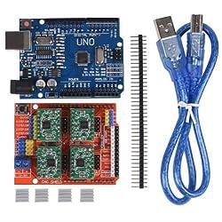 1 * cnc shield v3 + 4*A4988 + 4*Heatsink + 1* UNO R3 + 1*USB cable BY TECHNO
