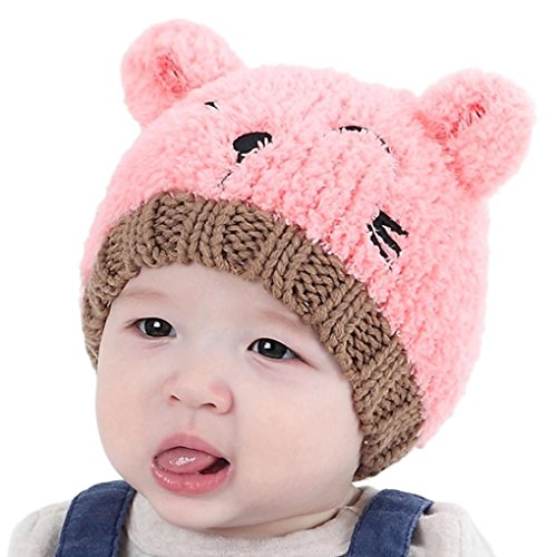 b2f70b9823a FALAIDUO Toddler Boy Girl Lovely Bear Soft Hat for 1-3 Years-Old (Pink)