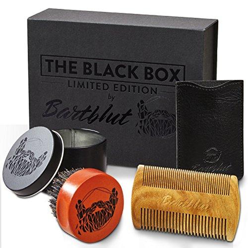Mann-schablonen Kleiner (BARTBLUT Bartbürste und Bartkamm Bartpflege-Set für Männer mit 100% Wildschweinborsten - Taschenkamm Holz Kamm Handgefertigt Antistatisch - Stark limitierte Geschenk Box - inkl. Bartguide)