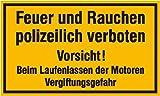 4384. Hinweisschild für Tankanlagen und Garagen Feuer und Rauchen polizeilich verboten Vorsicht! Kunststoff (Polysterol) Größe 25,00 cm x 15,00 cm