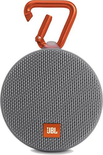JBL Clip 2 Wasserdichter Tragbarer Wiederaufladbarer Lautsprecher mit IPX7 Wasserschutz, Aux-Konnektivität und Integrierter Freisprechfunktion - Grau (Clip Für Bluetooth)