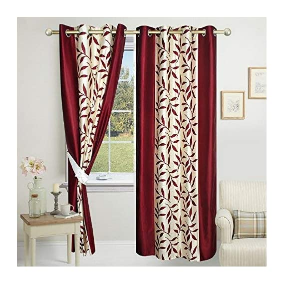 BEVI Kolaveri 2 Piece Eyelet Polyester Long Door Curtain Set - 7ft, Maroon