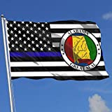Oaqueen Bandiere Thin Blue Line US Alabama State 3x5 Flag-Flags 90x150CM-Banner 3'x5' FT