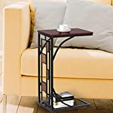 tinkertonk Living Room Office Antique Style End Table Sofa Side Coffee Trolly Simple Assembly Side Table 12 x 8.3 x 21.3""