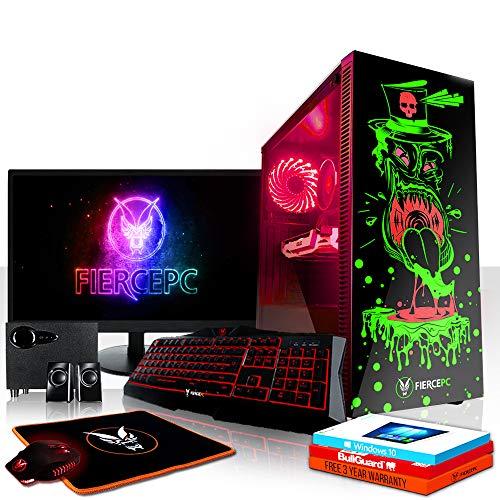 Fierce GOBBLER RGB Gaming PC Bundeln: 4.1GHz 6-Core Intel Core i5 8500, 120GB SSD, 2TB HDD, 8GB, NVIDIA GeForce GTX 1050 Ti 4GB, Win 10, Tastatur (QWERTY), Maus, 21.5-Zoll-Monitor, Lautsprecher 876556