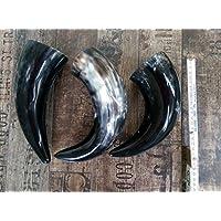 Trinkhorn Black, 0,4-0,5 Ltr, 25 cm, bauchig, Vikings-Methorn-LARP-Methorn - Mittelalter-Drinking Horn-Methorn, ideales Weihnachtsgeschenk, ein echtes Wikinger Geschenk