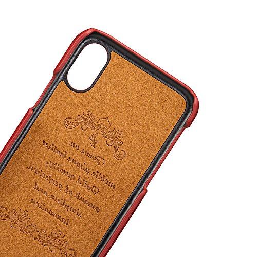 Pelle Cover per iPhone X, Custodia per iPhone 10,Bonice PU Cuoio Telefono Portafoglio Custodia Guscio Protettivo con Porta Carte di Credito Slot Case Cover per iPhone X/iPhone 10 (5,8 Pollici) + Penni Rosso