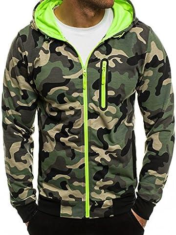 OZONEE Herren Sweatshirt Pullover Kapuzenpullover Pulli Sweats Militär Camouflage RED FIREBALL 1121 2XL