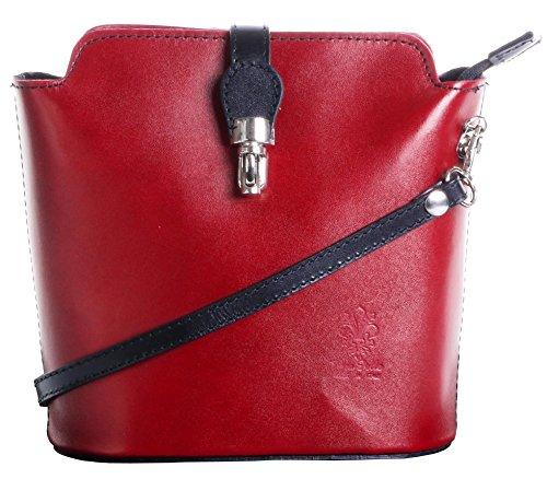 Italienisch Weichleder, Kleine Cross Body oder Umhängetasche Handtasche. Enthält eine Schutzaufbewahrungstasche. Rot & Schwarz
