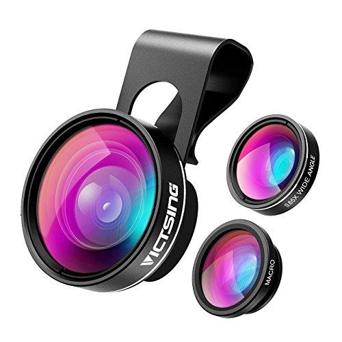 VicTsing 3 in 1 Clip On Fisheye Fischauge Objektiv, smartphone linsen set(180°Fisheye Objektiv, 0.65X Weitwinkelobjektiv, 10X Makroobjektiv),Kamera Objektiv Kits für iPhone 7 6 6S 6S Plus&die meisten Einzel-Kamera Handy