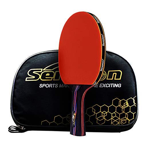 Caleson Tischtennisschläger mit doppeltem Carbon-Einsatz. Inklusive Hülle, AD Long-handle Red C