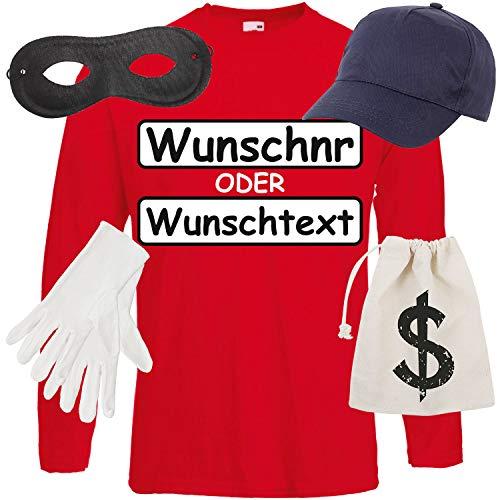 Für Kostüm Shirt Gangster Erwachsene - Shirt-Panda Herren Langarm Panzerknacker Kostüm + Cap + Maske + Handschuhe Verkleidung Karneval SET16 T-Shirt/WN/Cap/Maske/Handschuhe/Beutel XL