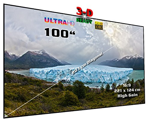 "Rahmenleinwand starr | 100"" (Ø = 254 cm), 16:9, 221 x 124 x 2 cm | Heimkino High Gain Hochkontrast Projektionswand, besonders für Passiv-3D | Typ ST-Flatscreen-HS"