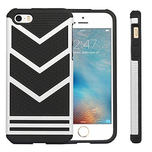 iPhone SE Hülle, Pasonomi® Hybrid Bumper Case Weiche Silikon Schutzhülle für iPhone SE/5s (Schwarz/Silber) Schwarz/Silber