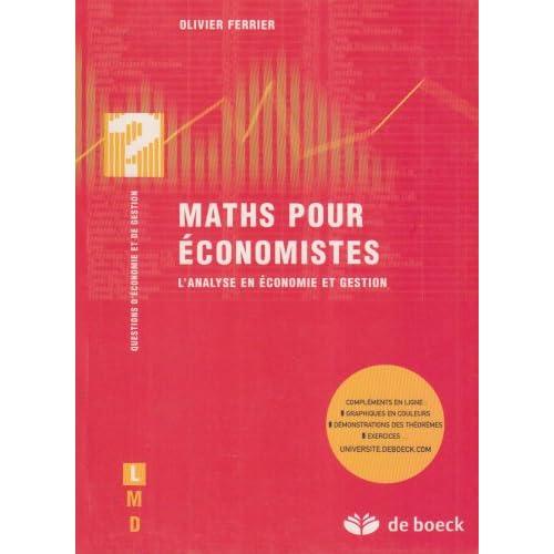 Maths pour économistes : L'analyse en économie et gestion