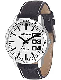 VIOMY GS2006- Stylish Different White Dial Watch With Black Strap For Men's& Boy's