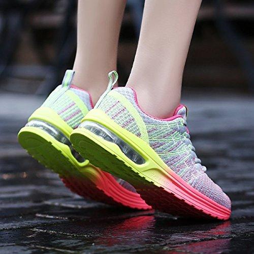 NEOKER Herren Damen Laufschuhe Sportschuhe Outdoor Running Freizeit Schuhe Turnschuhe Leicht Sneaker Schwarz Rot Grau 35-44 Grau