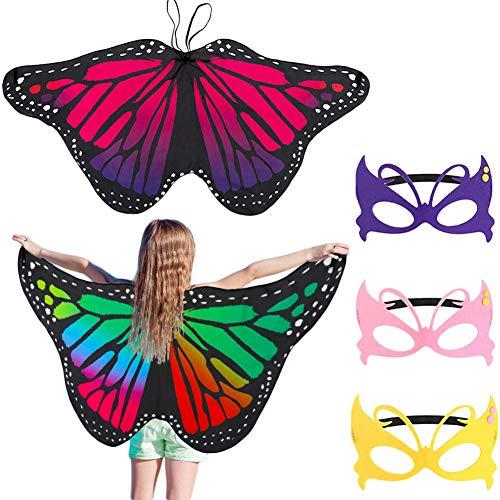 FANTESI 2 Pièces Ailes de Papillon avec 3 Masques, Cape Papillon Ailes Châle Costume pour Enfants Garçons Filles Déguisement Cosplay