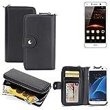 K-S-Trade 2in1 Handyhülle für Huawei Y5 II Single SIM hochwertige Schutzhülle & Portemonnee Tasche Handytasche Etui Geldbörse Wallet Case Hülle schwarz
