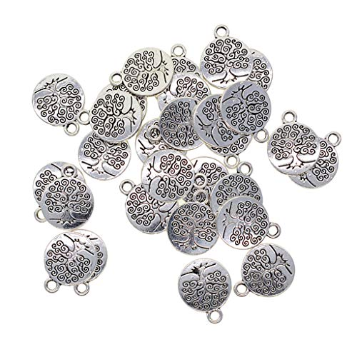 Baoblaze 30x Tibetan Silber Aushöhlen Yoga Lotus Blume Anhänger Charms Charming Beads - Yoga, 18 x 15 mm