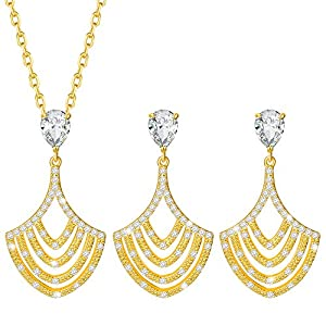 MARENJA-Valentine Gifts Women's Fashion Jewellery Set-Oriental Hand Fan Necklace Pendant with Chain and Earrings-Gold Plated Crystal Jewellery by Marenja