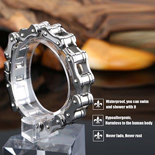 LDUDU® Herren Fahrradkette Motorradkette Armband Edelstahl Geschenk für Valentinstag Geburtstag Weihnachten, Farbe Silber, 20cm (nicht verstellbar) - 3