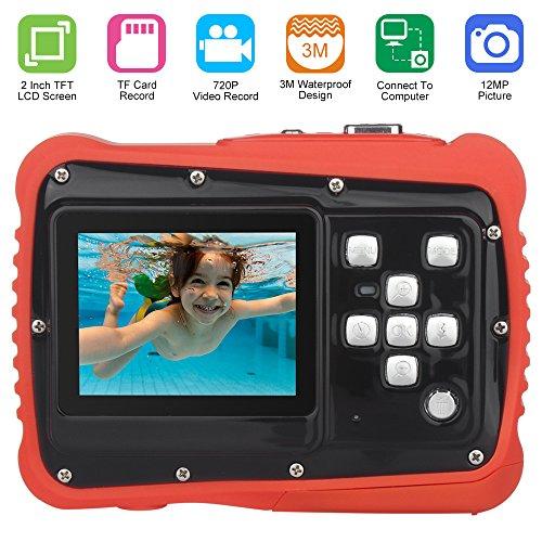 Camara Fotos Niños, Pixel 12M Cámara a Prueba de Agua con Pantalla LCD TFT Video de 2 Pulgadas Videocámara Digital Zoom 8X (Naranja)