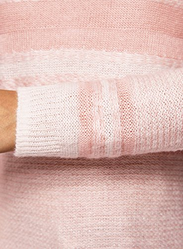 oodji Ultra Damen Langer Gestreifter Pullover mit Jacquard-Muster Rosa (4012J)