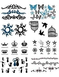 NOVAGO 8 mini tableros de tatuajes temporales (105 x 60 mm), varios patrones
