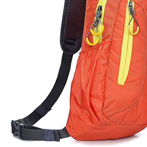 Impermeabiledi Viaggio Borsa Zaino Singola Cinghia per Sport di Campeggio Escursionismo Arrampicata Ciclismo, Uomini Donne - Nero Arancione