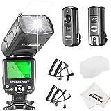 Neewer® NW-561 Schermo LCD Speedlite Kit per Canon Nikon e altre Fotocamere DSLR, include: (1) NW-561 Flash + (1) 2.4Ghz Trigger (1 * Trasmettitore +1 * Ricevitore) + (1) Panno di Pulizia in Microfibra