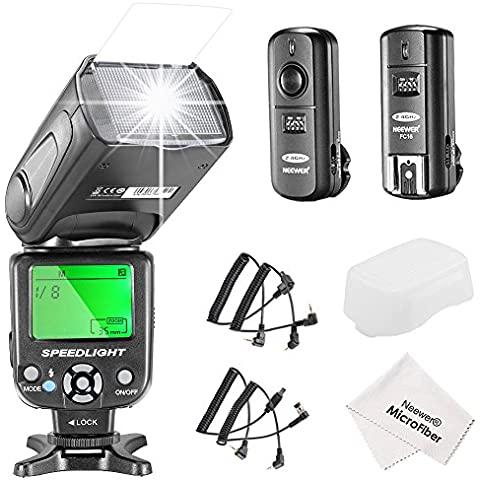 Neewer® Kit de NW-561 Speedlite Flash con Pantalla LCD para Cámaras DSLR Canon & Nikon, incluye: (1) NW-561 Speedlite Flash+(1) 2.4Ghz Disparador Inalámbrico+(1) Paño de Limpieza de
