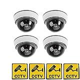 phot-r 4x Outdoor Indoor Fake Nachahmung IR Dome CCTV blinkende LED Blinklicht Überwachung Sicherheit Kamera-Attrappe mit Warnung Aufkleber–weiß