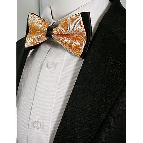 Hombre de negro, naranja Paisley Mens Pre-atada regulables SilkBlend vestido de novia moda Pajarita SilkBlend