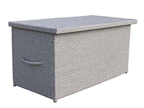 Rattan Kissenbox XXL Auflagenbox Gartenbox Truhe Lounge- Trendgrau