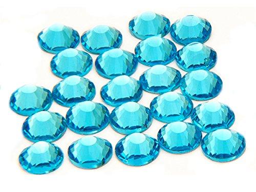 EIMASS® Strasssteine - Kristalle, Flache Rückseite, DMC, kein Hotfix-Glas, 1440 Stück, Blau - aquamarin - Größe: 4,8 mm (Blaue Flache Rückseite Edelsteine)