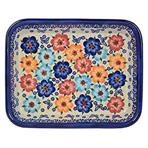 Traditional Polish Pottery, Lasagna Rectangular Casserole Baking Dish 10in / 25.5cm, Boleslawiec Style Pattern, O.101.Meadow