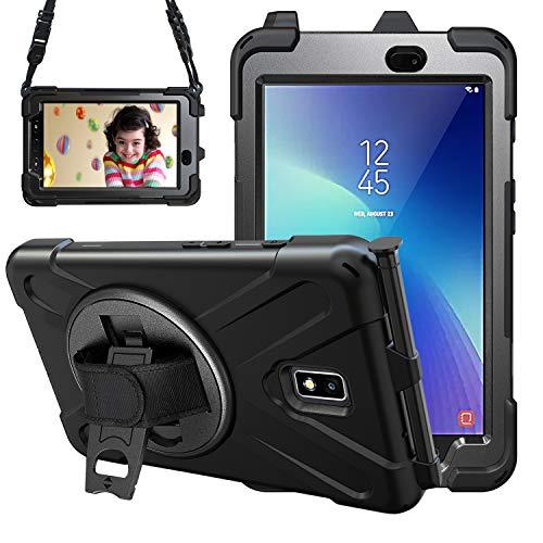 Gerutek Samsung Galaxy Tab Active 2 T390/T395/T397 Coque résistante aux Chocs Robuste avec Porte-Stylo, Support Rotatif et Sangle de Transport pour Samsung T390/T395/T397 Noir