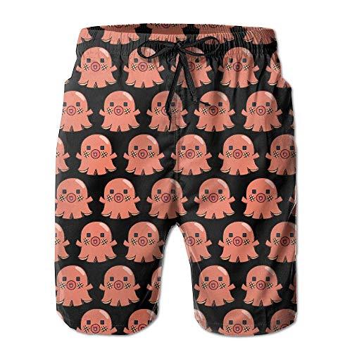 Men's Octopus Hot Dog Quick-Dry Summer Beach Surfing Board Shorts Swim Trunks Cargo Shorts,XXL