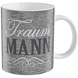 "GRUSS & CO 44216 Tasse ""Traum Mann"", Porzellan, 35 cl"