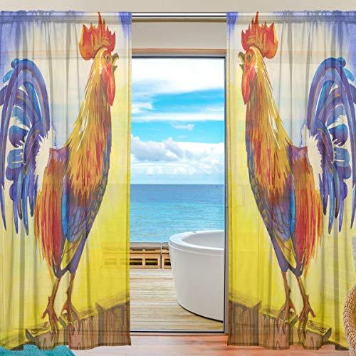 BIGJOKE Vorhang für Fenster, durchsichtig, Hahn, Kunst, Küche, Wohnzimmer, Schlafzimmer, Büro, Voile, 2 Stück, Multi, 55x78 inches (Küche Vorhänge Hahn)
