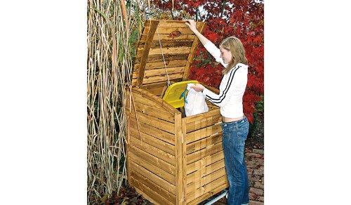 Mülltonnenbox aus Holz, Mülltonnenverkleidung - einfach (für eine Tonne bis 240 Liter), wetterfest und somit ideal für draußen / Outdoor geeignet