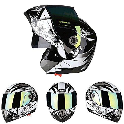 Lidauto Casco per Moto Open Face Con doppio obiettivo E-bike Protezione Angolo,Bullet-hole,L