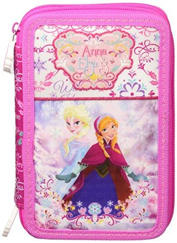 Disney frozen 52224 astuccio triplo, premium, 3 scomparti, pennarelli giotto, pastelli giotto, accessori scuola 44 pezzi, poliestere, multicolore, anna, elsa