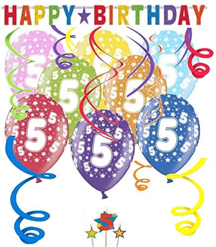 Libetui Geburtstag Dekoration Deko-Set \'Stern\' Kindergeburtstag Happy Birthday Bunte Partykette farbenfrohe Girlande Spirale Luftballons und Geburtstags-Kerzen (5. Geburtstag)