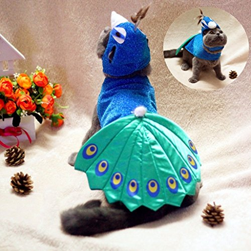 Kailian ® Pet Puppry Hund Katze Cosplay Peacock Costume Einstellbare Hat & (Peacock Kostüme Halloween Baby)