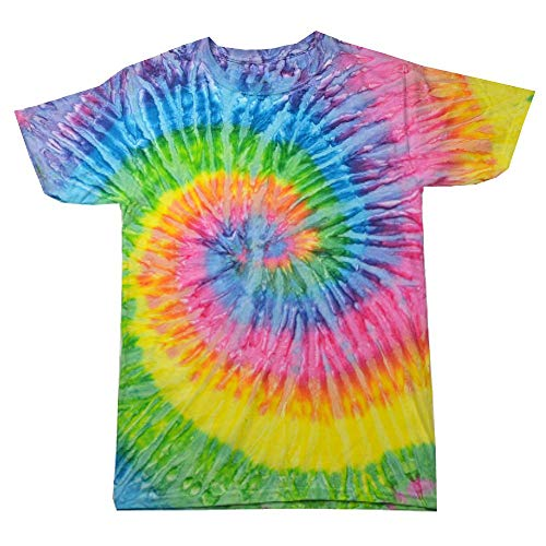 70er Jahre Retro T-shirts (Colortone - Unisex Batik T-Shirt 'Rainbow' / Saturn, XL)