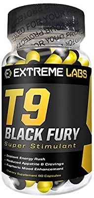Extreme Labs T9 Black Fury - Strong Ephedrine / Ephedra Free Fat Burners by Extreme Labs