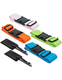 4-Pack Luggage Straps Suitcase Belt And Tag, Travel Bag Accessories, 4 Colors By Juvale