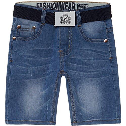 Fashion Boy Jungen Destroyed Capri Jeans Shorts Gürtel Kinder kurze Hose Cargo 22526, Größe:116 - Verstellbare Kurze